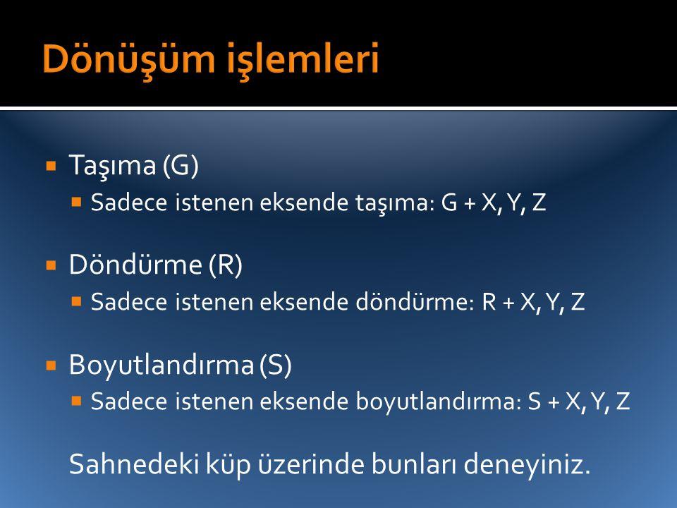  Taşıma (G)  Sadece istenen eksende taşıma: G + X, Y, Z  Döndürme (R)  Sadece istenen eksende döndürme: R + X, Y, Z  Boyutlandırma (S)  Sadece i