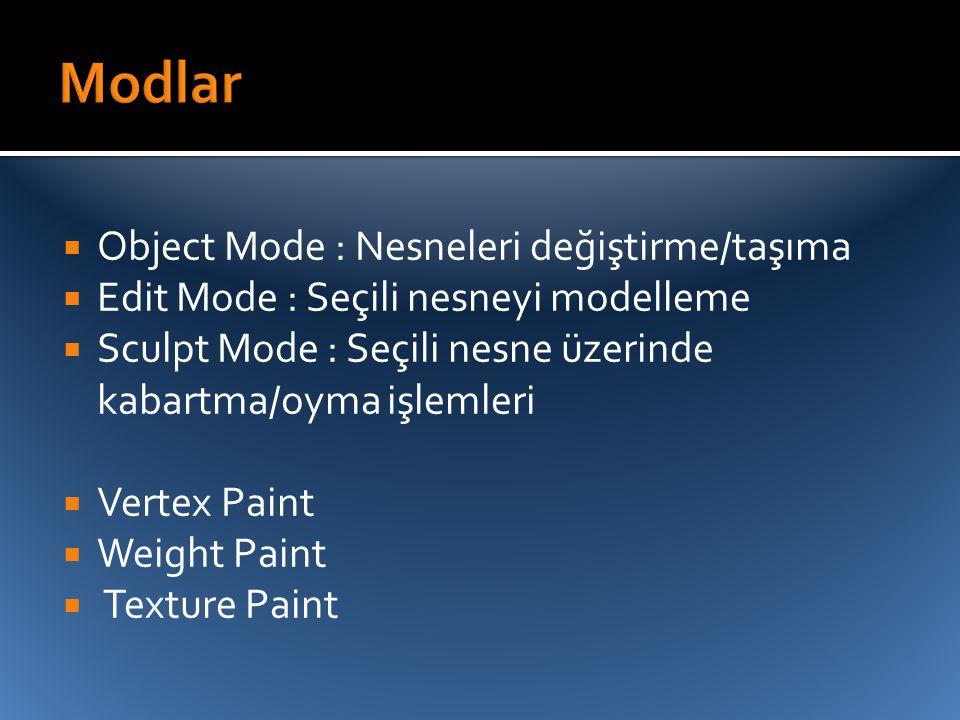  Object Mode : Nesneleri değiştirme/taşıma  Edit Mode : Seçili nesneyi modelleme  Sculpt Mode : Seçili nesne üzerinde kabartma/oyma işlemleri  Ver