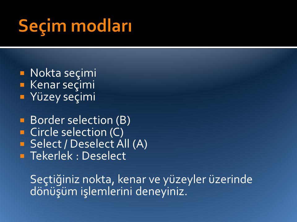  Nokta seçimi  Kenar seçimi  Yüzey seçimi  Border selection (B)  Circle selection (C)  Select / Deselect All (A)  Tekerlek : Deselect Seçtiğini