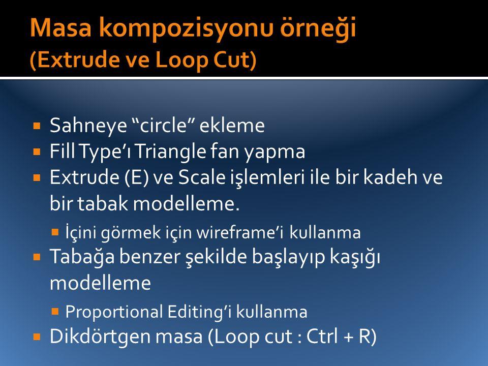 """ Sahneye """"circle"""" ekleme  Fill Type'ı Triangle fan yapma  Extrude (E) ve Scale işlemleri ile bir kadeh ve bir tabak modelleme.  İçini görmek için"""