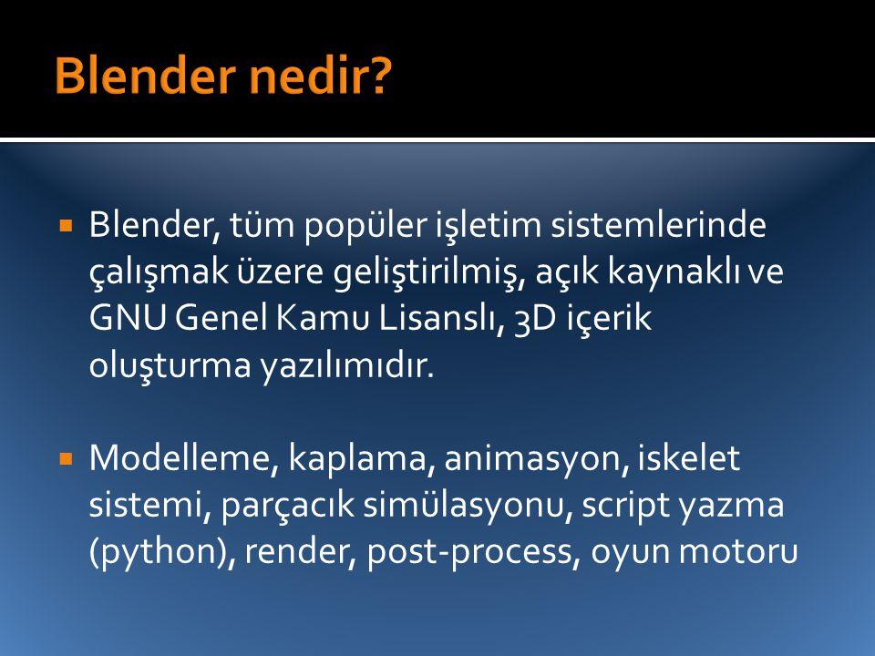  Blender, tüm popüler işletim sistemlerinde çalışmak üzere geliştirilmiş, açık kaynaklı ve GNU Genel Kamu Lisanslı, 3D içerik oluşturma yazılımıdır.