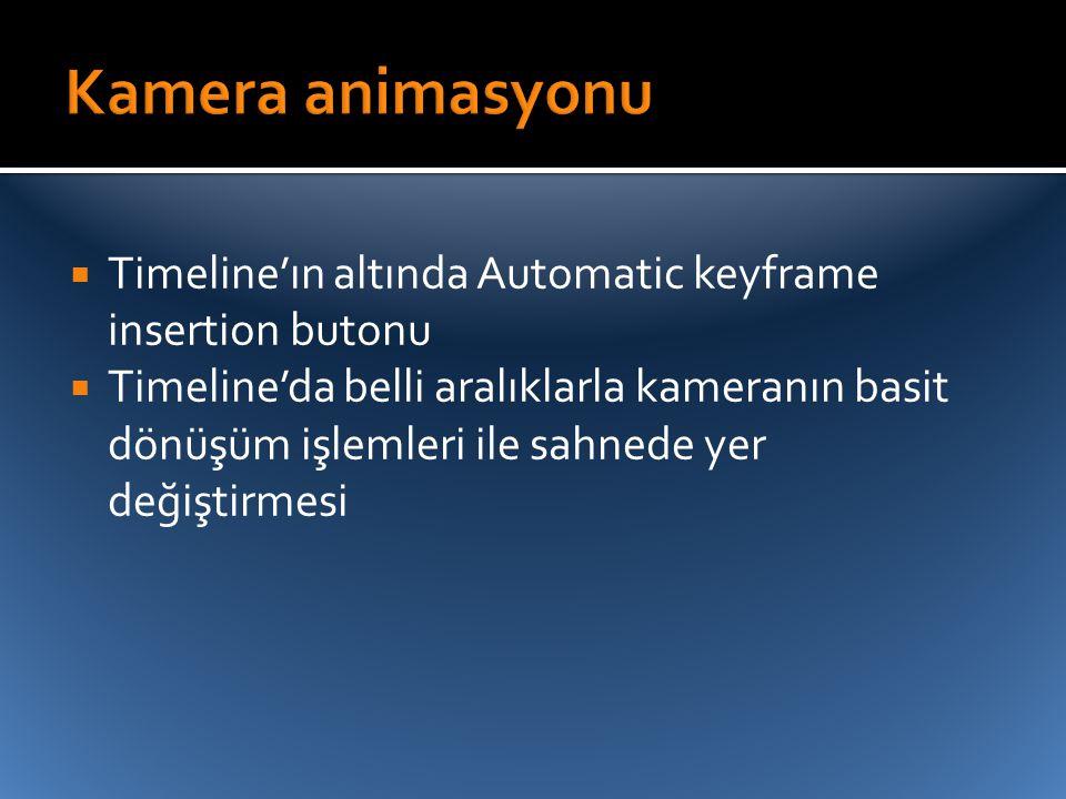  Timeline'ın altında Automatic keyframe insertion butonu  Timeline'da belli aralıklarla kameranın basit dönüşüm işlemleri ile sahnede yer değiştirme