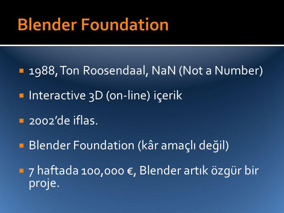  1988, Ton Roosendaal, NaN (Not a Number)  Interactive 3D (on-line) içerik  2002'de iflas.  Blender Foundation (kâr amaçlı değil)  7 haftada 100,