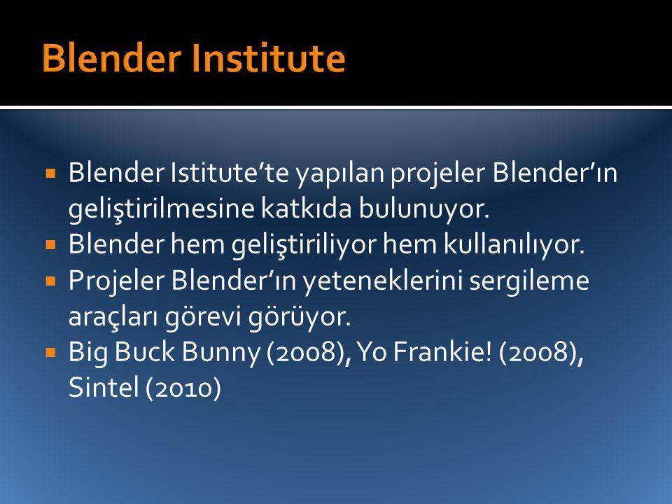  Blender Istitute'te yapılan projeler Blender'ın geliştirilmesine katkıda bulunuyor.  Blender hem geliştiriliyor hem kullanılıyor.  Projeler Blende