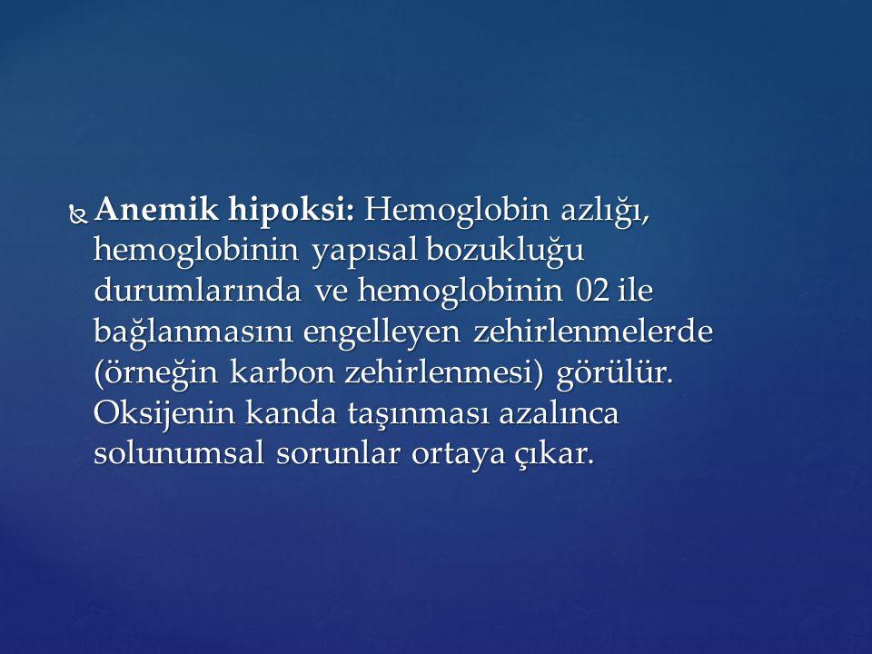  Anemik hipoksi: Hemoglobin azlığı, hemoglobinin yapısal bozukluğu durumlarında ve hemoglobinin 02 ile bağlanmasını engelleyen zehirlenmelerde (örneğ
