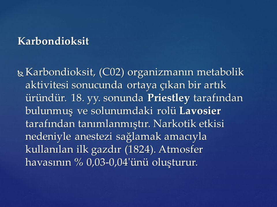 Karbondioksit  Karbondioksit, (C02) organizmanın metabolik aktivitesi sonucunda ortaya çıkan bir artık üründür. 18. yy. sonunda Priestley tarafından