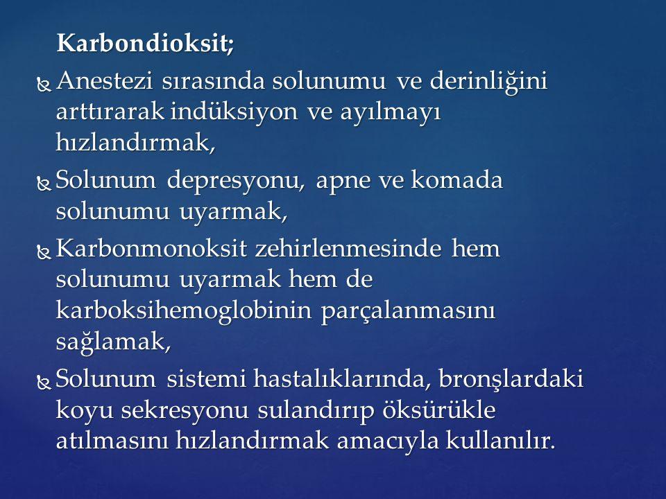 Karbondioksit; Karbondioksit;  Anestezi sırasında solunumu ve derinliğini arttırarak indüksiyon ve ayılmayı hızlandırmak,  Solunum depresyonu, apne