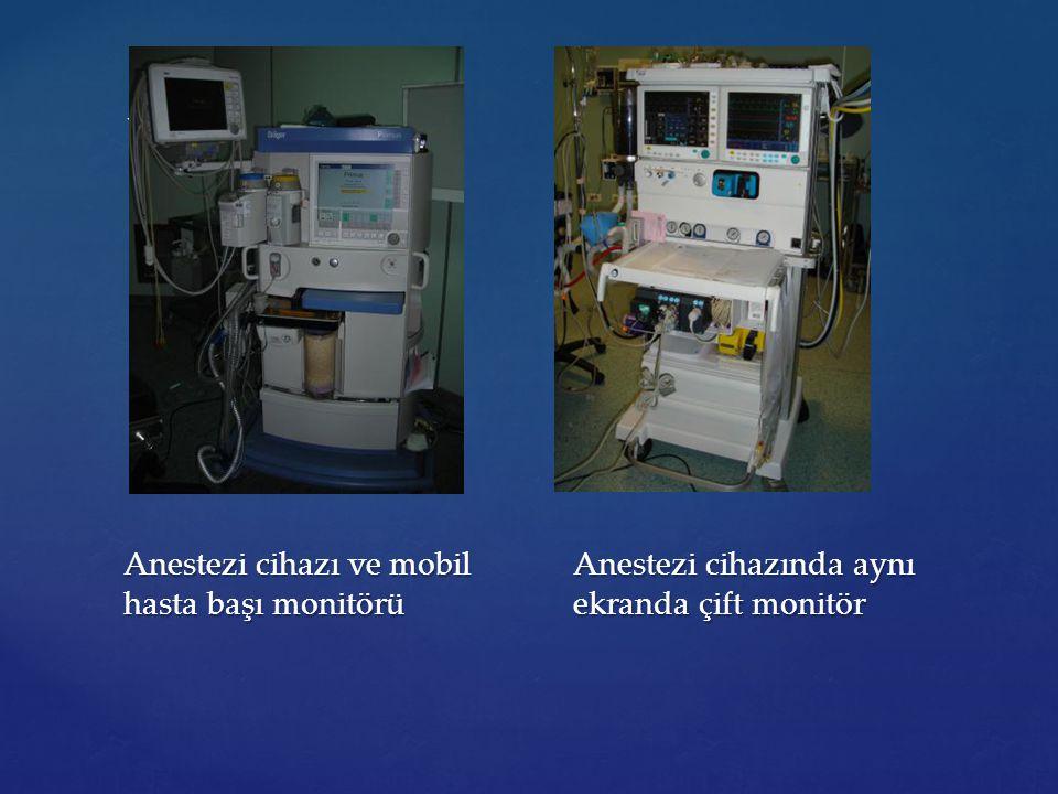 {{ Anestezi cihazı ve mobil hasta başı monitörü Anestezi cihazında aynı ekranda çift monitör