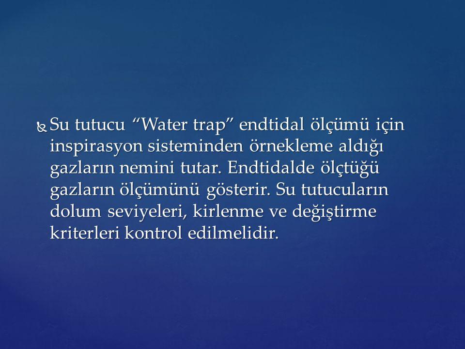""" Su tutucu """"Water trap"""" endtidal ölçümü için inspirasyon sisteminden örnekleme aldığı gazların nemini tutar. Endtidalde ölçtüğü gazların ölçümünü gös"""