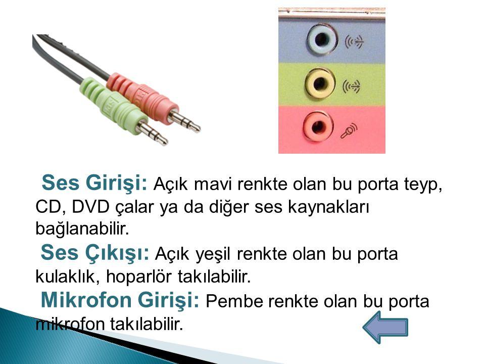 LAN (RJ-45) Port Yerel alan ağlarında ağa bağlanmak için kullanılır.