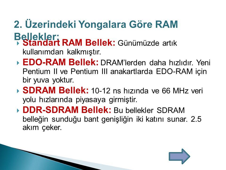 1.Boyutuna Göre RAM Bellekler:  30 Pinli SIMM Bellek: Eski bilgisayarlarda kullanılır Ram belleğin anakarta bağlandığı yerdeki pin sayısı oldukça ufaktı ve küçük boyutta bir bellek tipiydi.