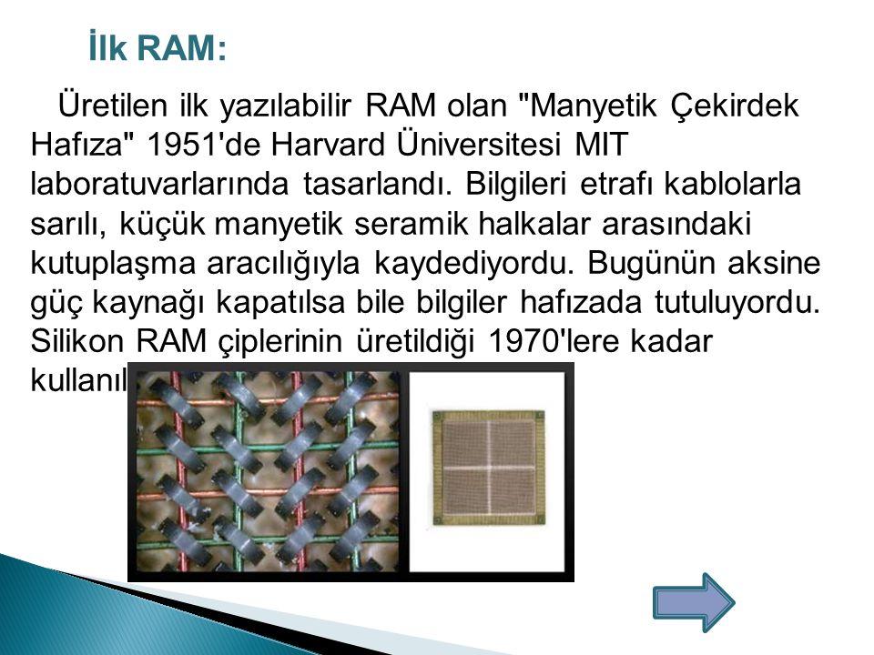 3.Özelliklerine Göre RAM Bellekler:  Pariteli RAM Bellek: Bilgi 0 ve 1'ler halinde belleğe ulaştığında fazladan bir yonga ikili sayılar üzerinde hesap yapıp toplam rakam yanlış gelirse veriyi geri gönderip tekrar hesap yapılmasını sağlar.