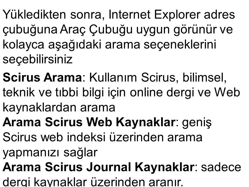 Yükledikten sonra, Internet Explorer adres çubuğuna Araç Çubuğu uygun görünür ve kolayca aşağıdaki arama seçeneklerini seçebilirsiniz Scirus Arama: Ku