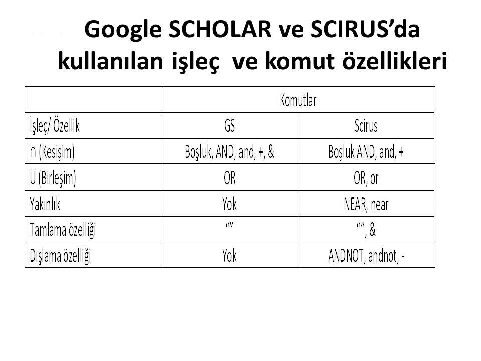 Google SCHOLAR ve SCIRUS'da kullanılan işleç ve komut özellikleri