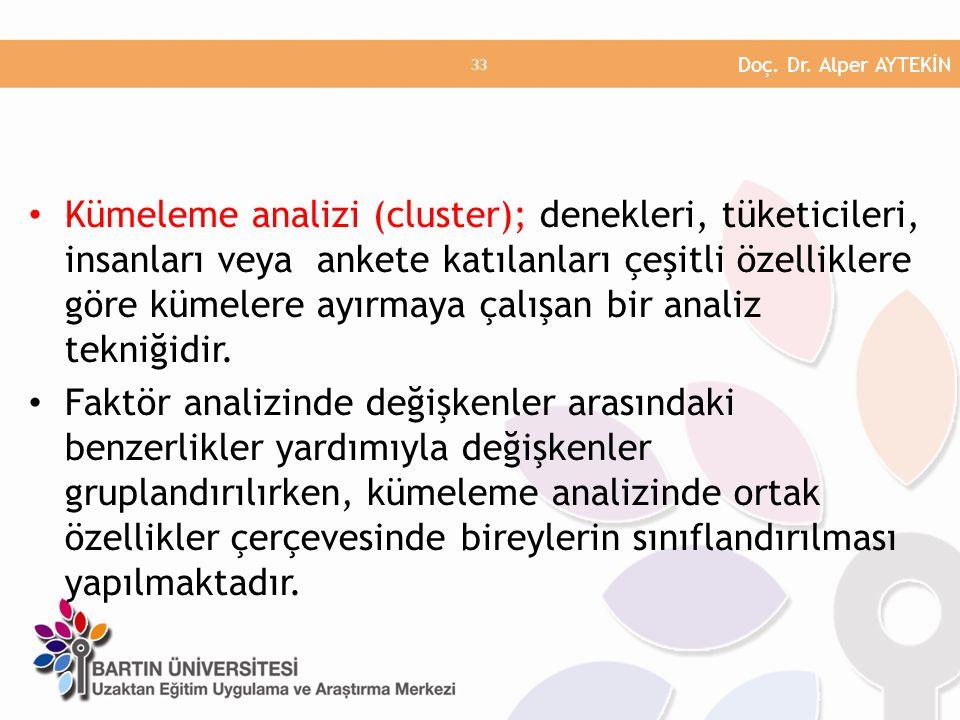 • Kümeleme analizi (cluster); denekleri, tüketicileri, insanları veya ankete katılanları çeşitli özelliklere göre kümelere ayırmaya çalışan bir analiz