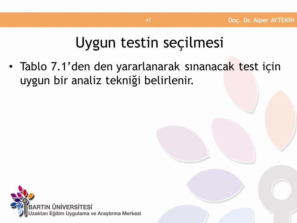 • Tablo 7.1'den den yararlanarak sınanacak test için uygun bir analiz tekniği belirlenir. Uygun testin seçilmesi Doç. Dr. Alper AYTEKİN 47