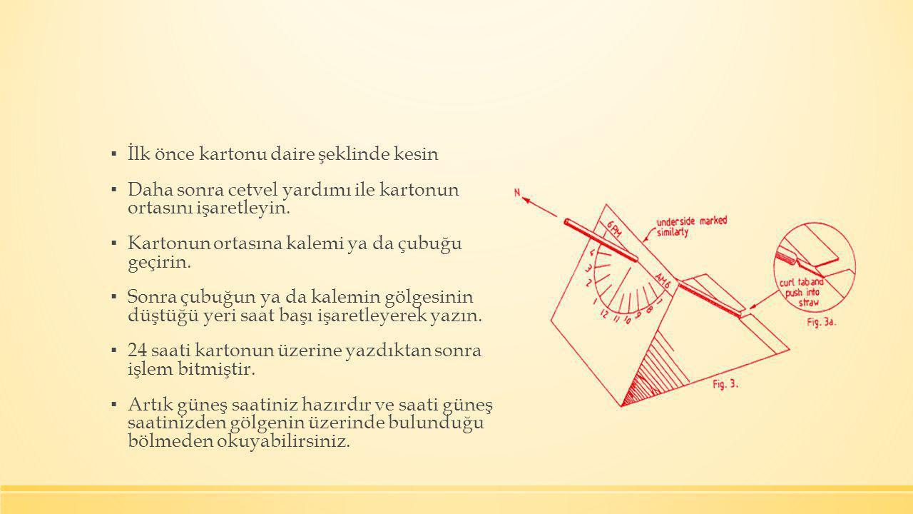 ▪ İlk önce kartonu daire şeklinde kesin ▪ Daha sonra cetvel yardımı ile kartonun ortasını işaretleyin. ▪ Kartonun ortasına kalemi ya da çubuğu geçirin