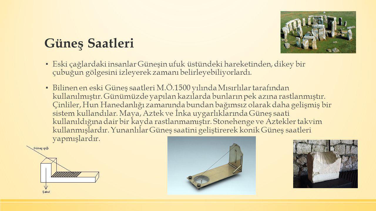 İstanbul Ferruh Kâhya Camii'ndeki dörtgen Güneş saati Erzurum Şeyhler Camii'nde Dairesel Güneş Saati Süleymaniye Camii'nde üçgen ve ikindi Güneş saatleri Halep Osman Paşa Camii'nin ikindi Güneş saati