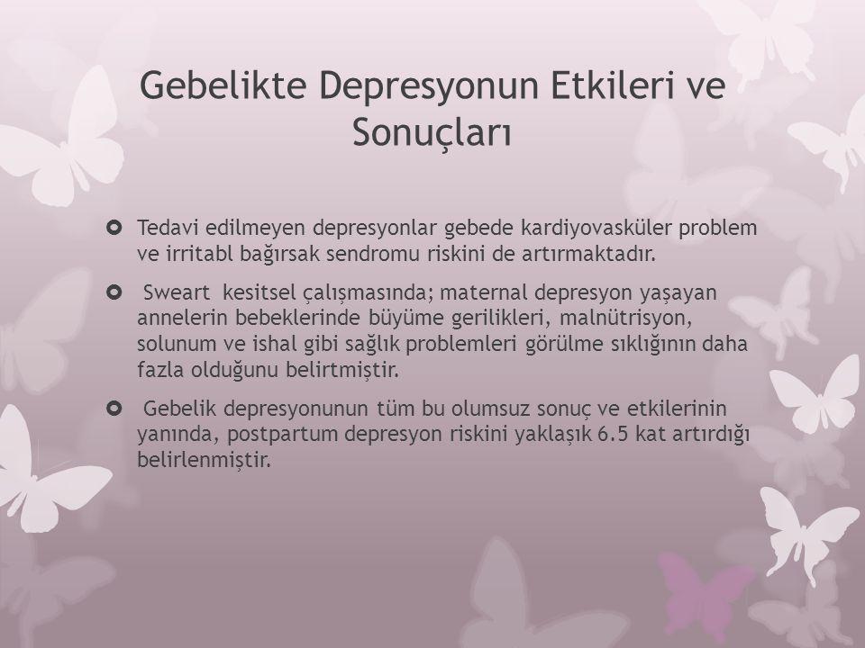 Gebelikte Depresyonun Etkileri ve Sonuçları  Tedavi edilmeyen depresyonlar gebede kardiyovasküler problem ve irritabl bağırsak sendromu riskini de ar