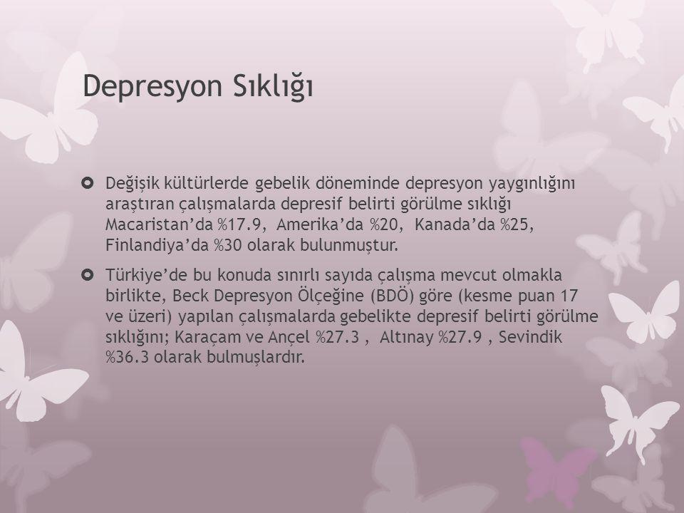 Depresyon Sıklığı  Değişik kültürlerde gebelik döneminde depresyon yaygınlığını araştıran çalışmalarda depresif belirti görülme sıklığı Macaristan'da