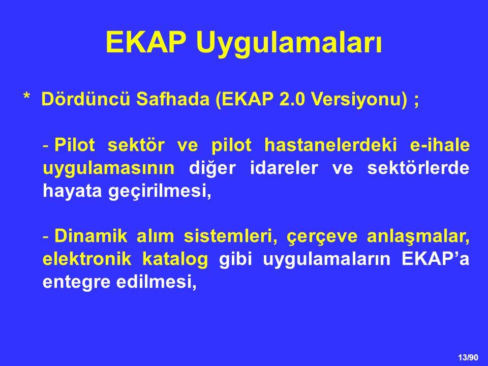 13/90 * Dördüncü Safhada (EKAP 2.0 Versiyonu) ; - Pilot sektör ve pilot hastanelerdeki e-ihale uygulamasının diğer idareler ve sektörlerde hayata geçi