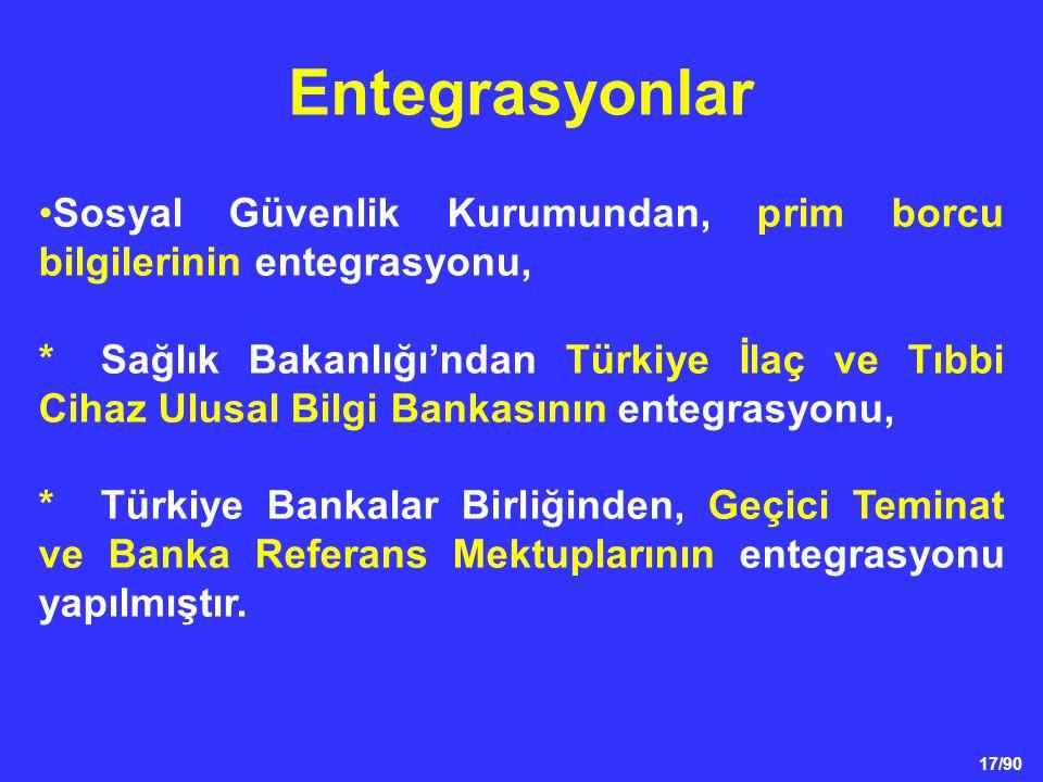 17/90 •Sosyal Güvenlik Kurumundan, prim borcu bilgilerinin entegrasyonu, *Sağlık Bakanlığı'ndan Türkiye İlaç ve Tıbbi Cihaz Ulusal Bilgi Bankasının en