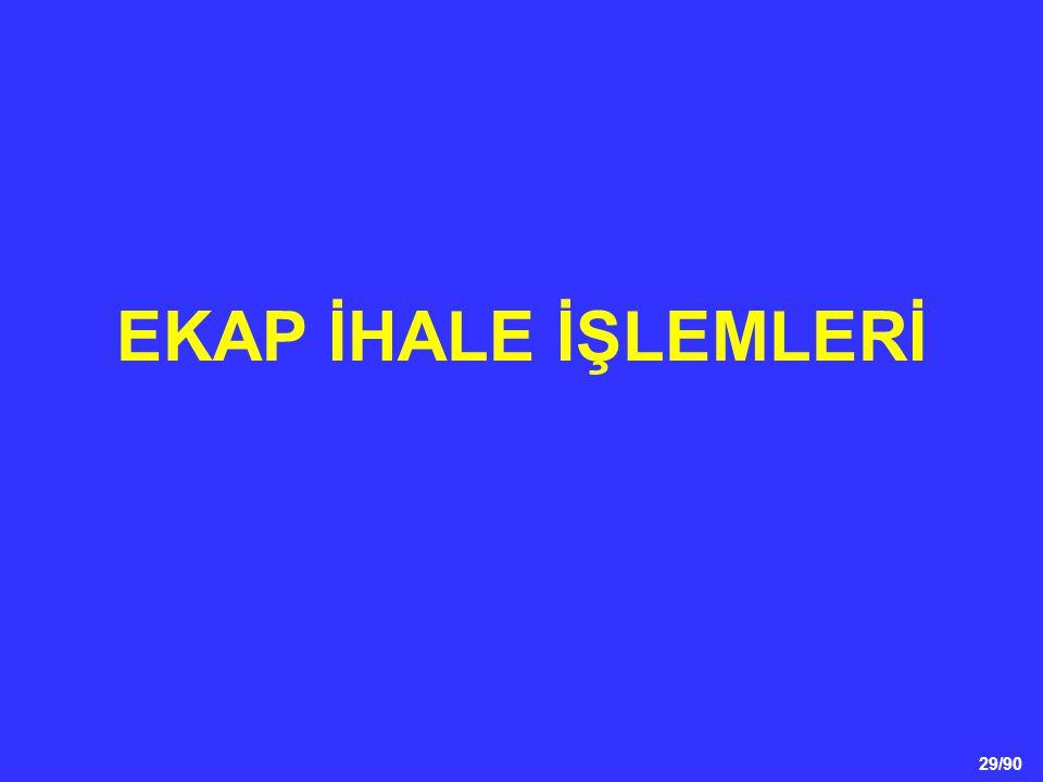 29/90 EKAP İHALE İŞLEMLERİ