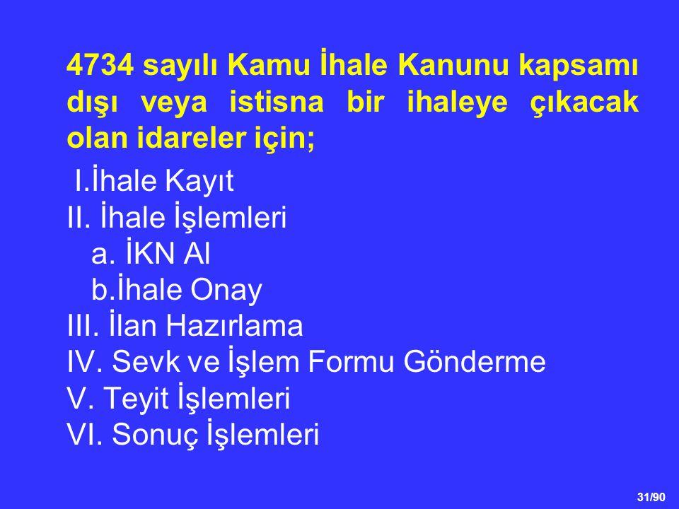 31/90 4734 sayılı Kamu İhale Kanunu kapsamı dışı veya istisna bir ihaleye çıkacak olan idareler için; I.İhale Kayıt II. İhale İşlemleri a. İKN Al b.İh