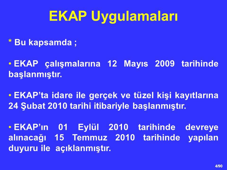 4/90 * Bu kapsamda ; • EKAP çalışmalarına 12 Mayıs 2009 tarihinde başlanmıştır. • EKAP'ta idare ile gerçek ve tüzel kişi kayıtlarına 24 Şubat 2010 tar