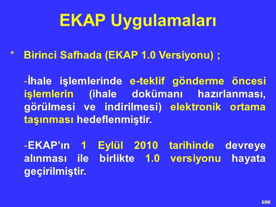 5/90 *Birinci Safhada (EKAP 1.0 Versiyonu) ; -İhale işlemlerinde e-teklif gönderme öncesi işlemlerin (ihale dokümanı hazırlanması, görülmesi ve indiri