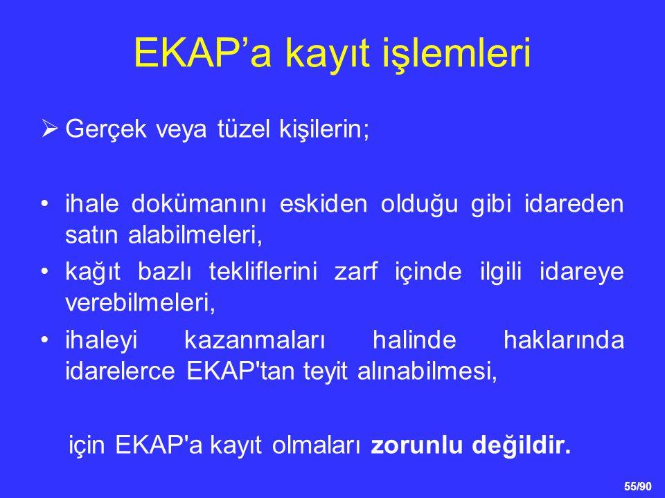 55/90 EKAP'a kayıt işlemleri  Gerçek veya tüzel kişilerin; •ihale dokümanını eskiden olduğu gibi idareden satın alabilmeleri, •kağıt bazlı teklifleri