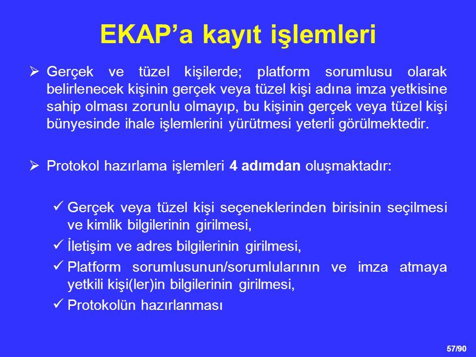 57/90 EKAP'a kayıt işlemleri  Gerçek ve tüzel kişilerde; platform sorumlusu olarak belirlenecek kişinin gerçek veya tüzel kişi adına imza yetkisine s
