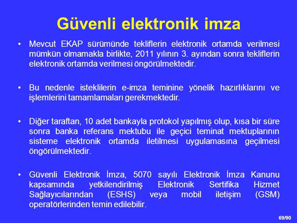 69/90 Güvenli elektronik imza •Mevcut EKAP sürümünde tekliflerin elektronik ortamda verilmesi mümkün olmamakla birlikte, 2011 yılının 3. ayından sonra