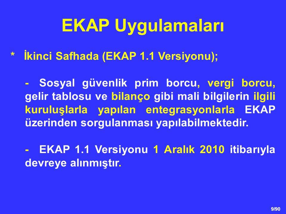 9/90 * İkinci Safhada (EKAP 1.1 Versiyonu); -Sosyal güvenlik prim borcu, vergi borcu, gelir tablosu ve bilanço gibi mali bilgilerin ilgili kuruluşlarl