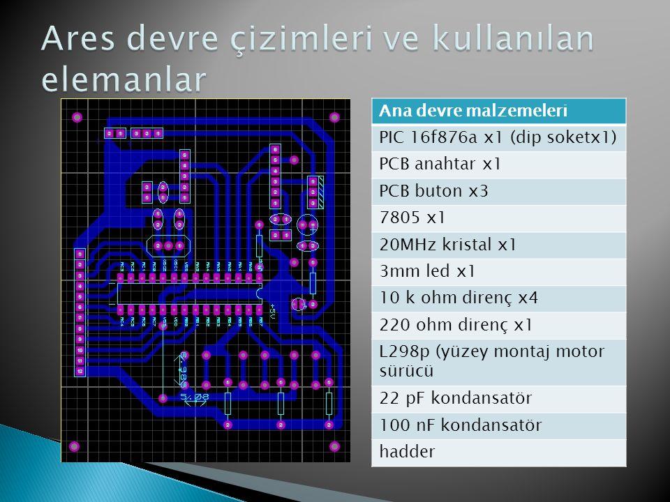 Ana devre malzemeleri PIC 16f876a x1 (dip soketx1) PCB anahtar x1 PCB buton x3 7805 x1 20MHz kristal x1 3mm led x1 10 k ohm direnç x4 220 ohm direnç x
