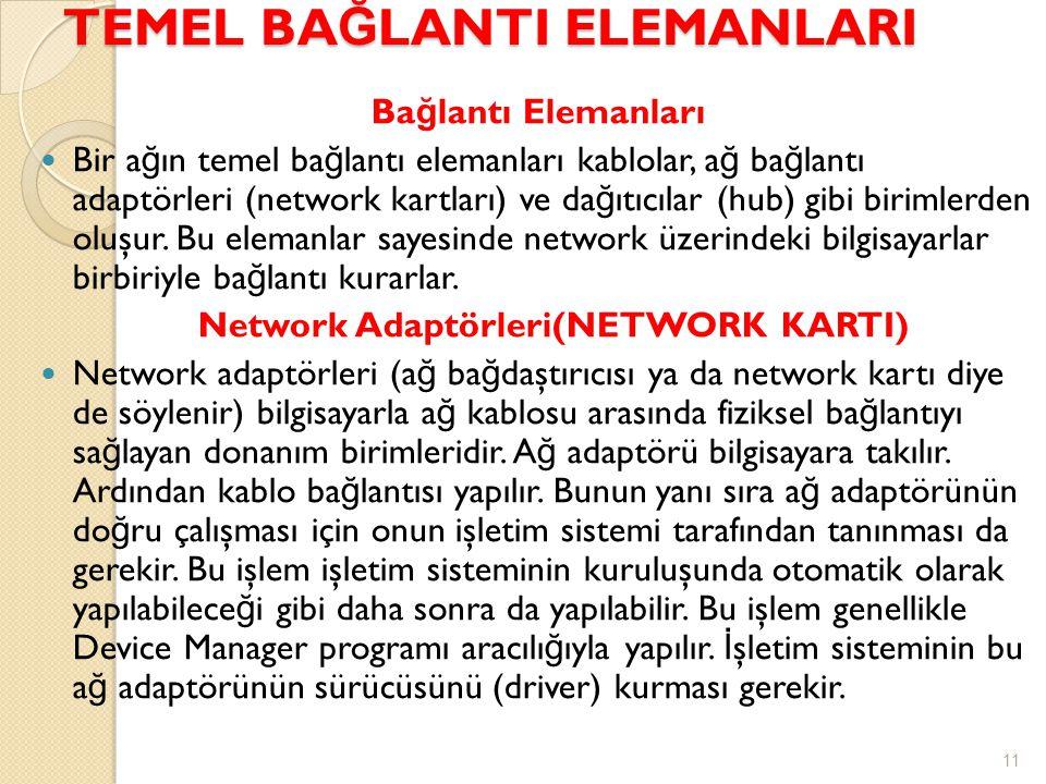 TEMEL BA Ğ LANTI ELEMANLARI Ba ğ lantı Elemanları  Bir a ğ ın temel ba ğ lantı elemanları kablolar, a ğ ba ğ lantı adaptörleri (network kartları) ve