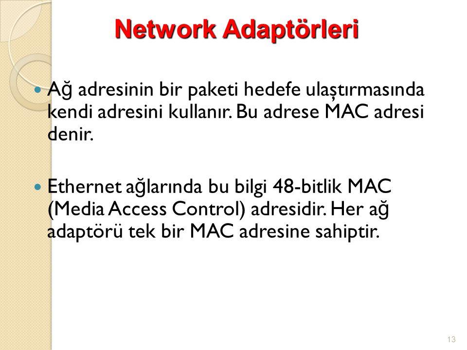  A ğ adresinin bir paketi hedefe ulaştırmasında kendi adresini kullanır. Bu adrese MAC adresi denir.  Ethernet a ğ larında bu bilgi 48-bitlik MAC (M