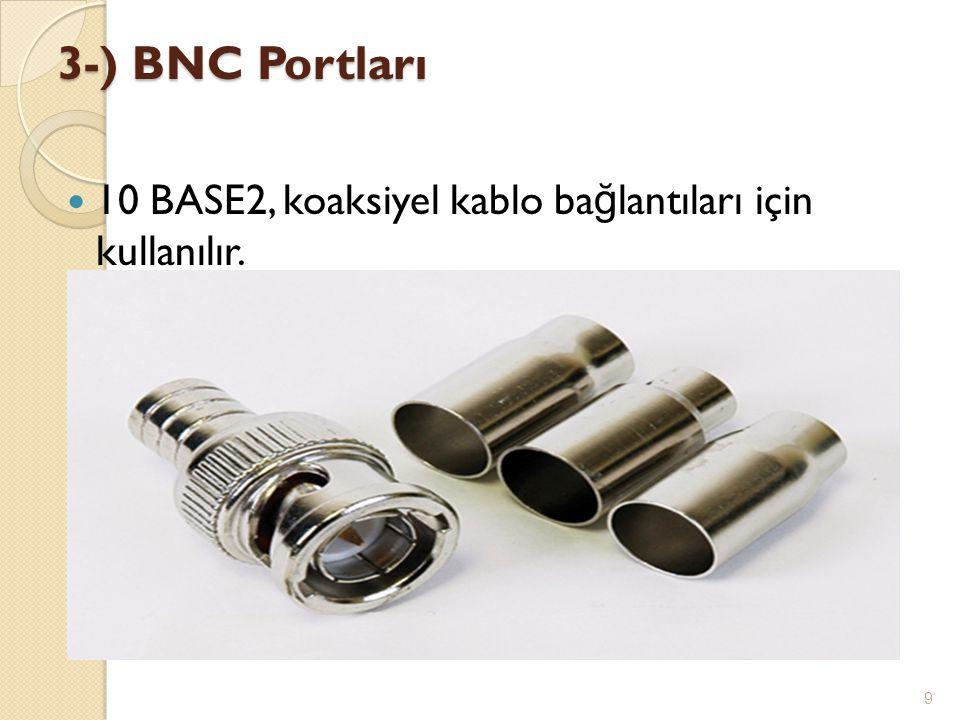3-) BNC Portları  10 BASE2, koaksiyel kablo ba ğ lantıları için kullanılır. 9