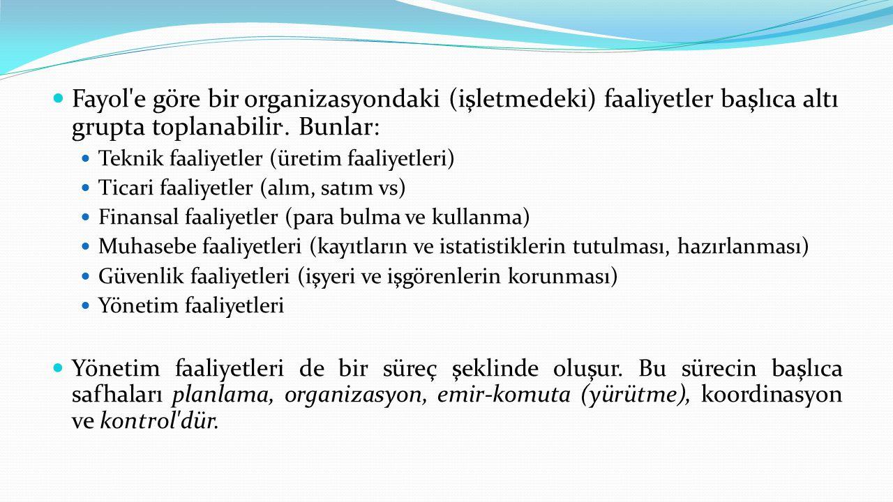  Fayol'e göre bir organizasyondaki (işletmedeki) faaliyetler başlıca altı grupta toplanabilir.. Bunlar:  Teknik faaliyetler (üretim faaliyetleri) 