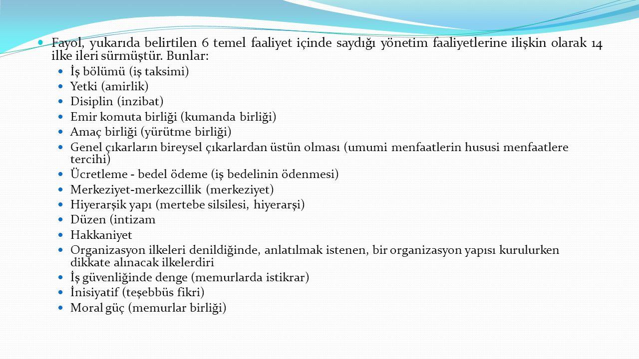  Fayol, yukarıda belirtilen 6 temel faaliyet içinde saydığı yönetim faaliyetlerine ilişkin olarak 14 ilke ileri sürmüştür. Bunlar:  İş bölümü (iş