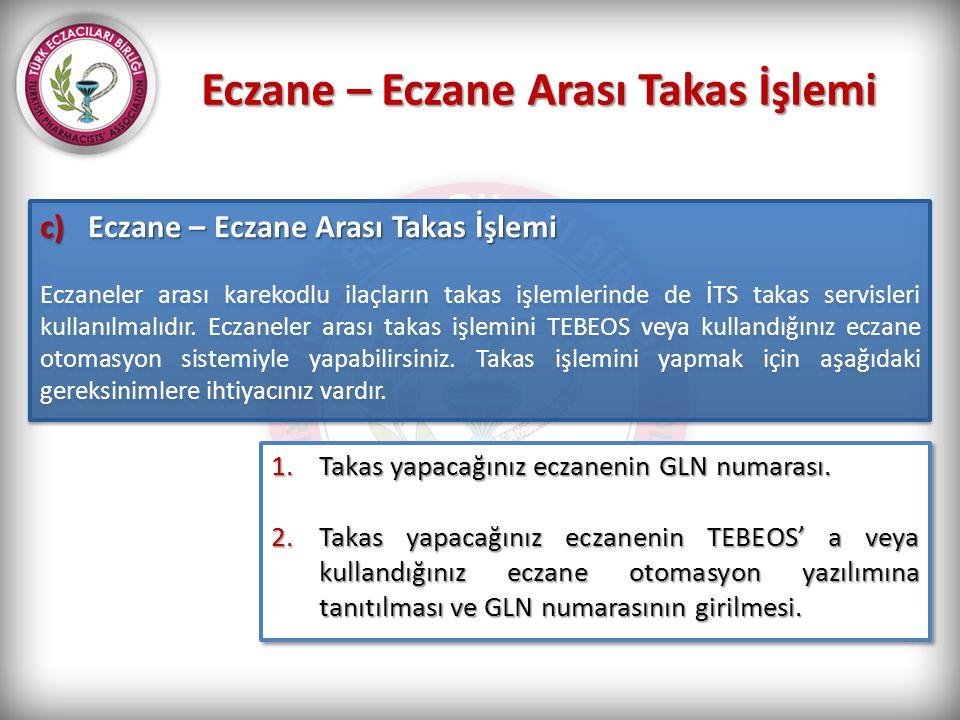 Eczane – Eczane Arası Takas İşlemi c)Eczane – Eczane Arası Takas İşlemi Eczaneler arası karekodlu ilaçların takas işlemlerinde de İTS takas servisleri