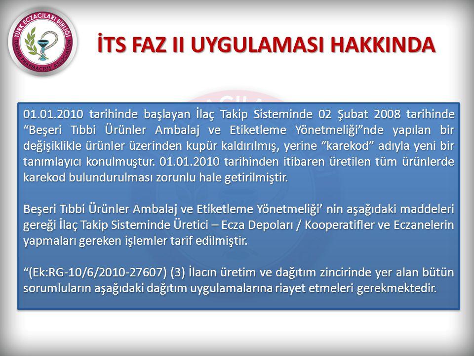 """İTS FAZ II UYGULAMASI HAKKINDA 01.01.2010 tarihinde başlayan İlaç Takip Sisteminde 02 Şubat 2008 tarihinde """"Beşeri Tıbbi Ürünler Ambalaj ve Etiketleme"""