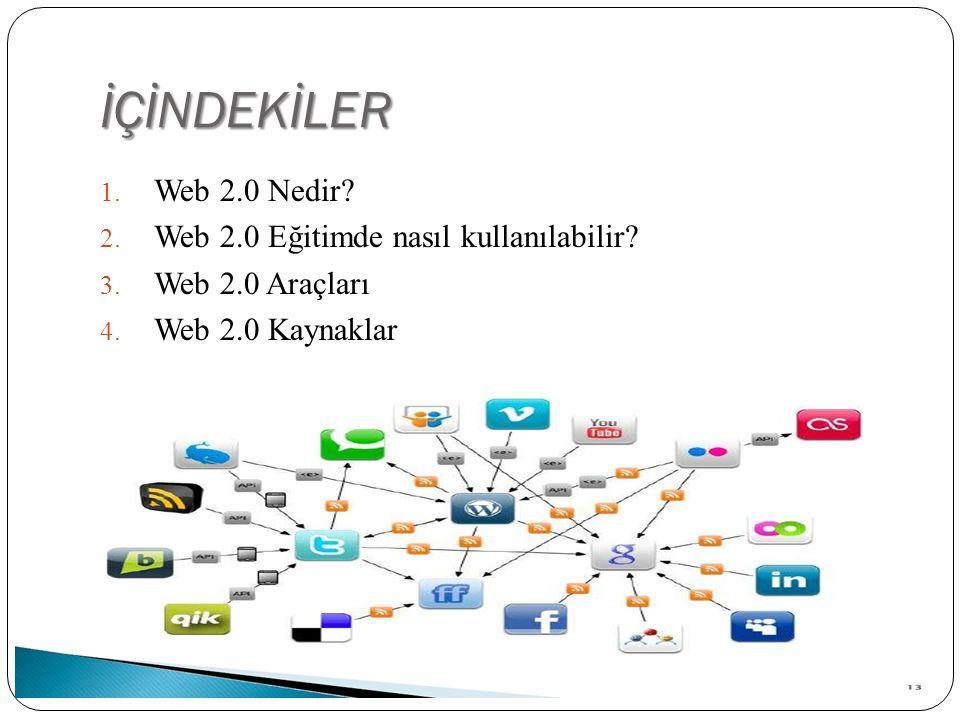 İÇİNDEKİLER 1. Web 2.0 Nedir? 2. Web 2.0 Eğitimde nasıl kullanılabilir? 3. Web 2.0 Araçları 4. Web 2.0 Kaynaklar