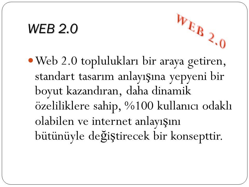 WEB 2.0  Web 2.0 toplulukları bir araya getiren, standart tasarım anlayı ş ına yepyeni bir boyut kazandıran, daha dinamik özeliliklere sahip, %100 ku