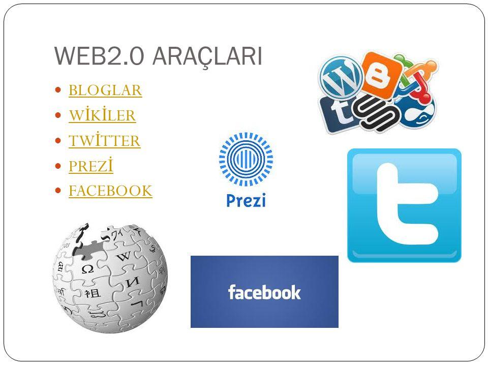 WEB2.0 ARAÇLARI  BLOGLAR BLOGLAR  W İ K İ LER W İ K İ LER  TW İ TTER TW İ TTER  PREZ İ PREZ İ  FACEBOOK FACEBOOK
