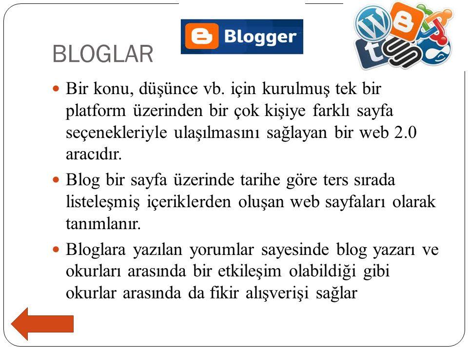 BLOGLAR  Bir konu, düşünce vb. için kurulmuş tek bir platform üzerinden bir çok kişiye farklı sayfa seçenekleriyle ulaşılmasını sağlayan bir web 2.0