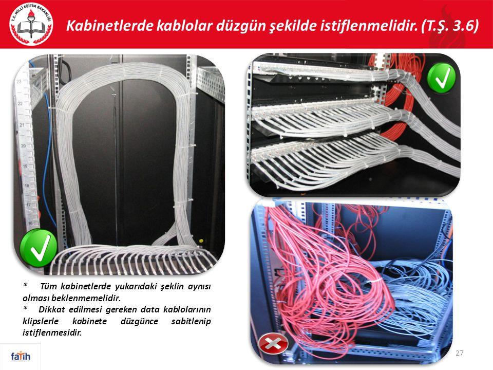 Kabinetlerde kablolar düzgün şekilde istiflenmelidir.