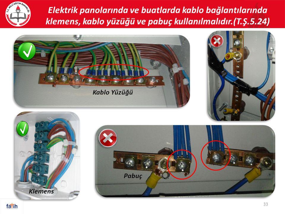 Elektrik panolarında ve buatlarda kablo bağlantılarında klemens, kablo yüzüğü ve pabuç kullanılmalıdır.(T.Ş.5.24) 33 Kablo Yüzüğü Pabuç Klemens