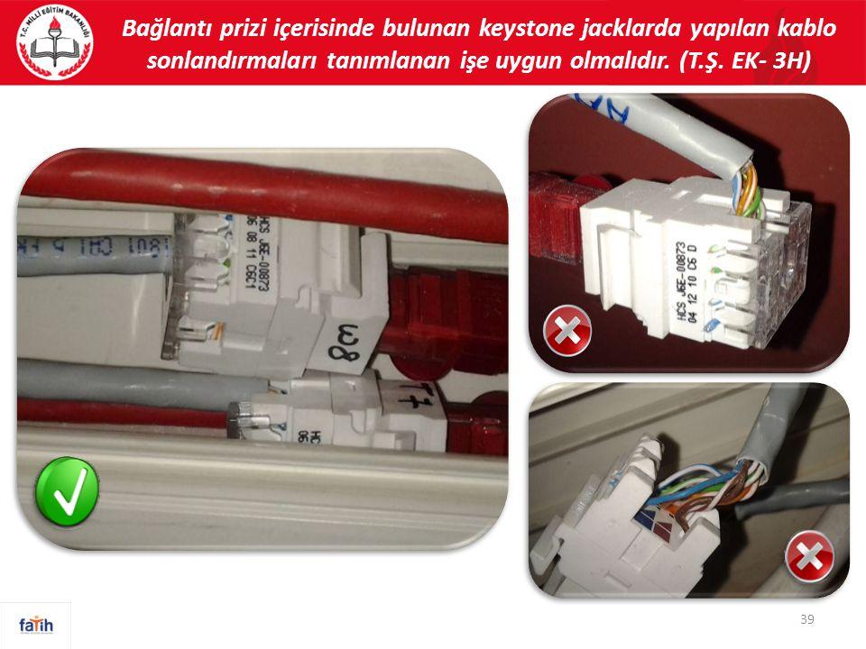 39 Bağlantı prizi içerisinde bulunan keystone jacklarda yapılan kablo sonlandırmaları tanımlanan işe uygun olmalıdır.