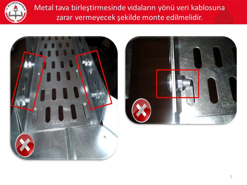 Metal tava birleştirmesinde vidaların yönü veri kablosuna zarar vermeyecek şekilde monte edilmelidir.